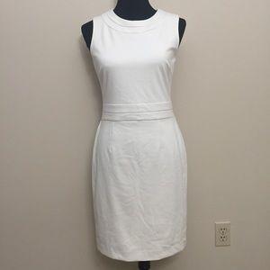 White ponte Knit Sheath Dress